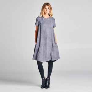 Charcoal Pocket-Accent Tencel T-Shirt Dress